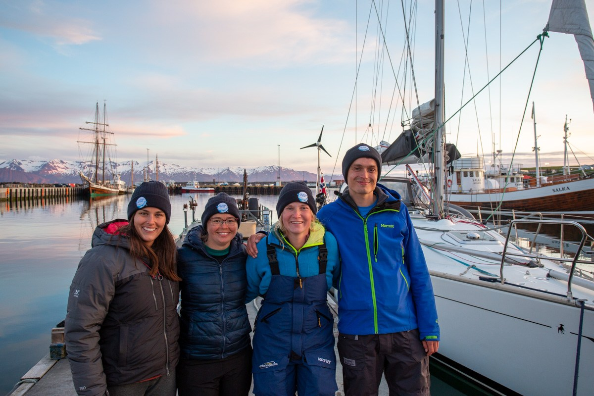 The Whale Wise team. From the left: Abigail Robinson, Flordespina Dodds, Alyssa Stoller and Tom Groove.
