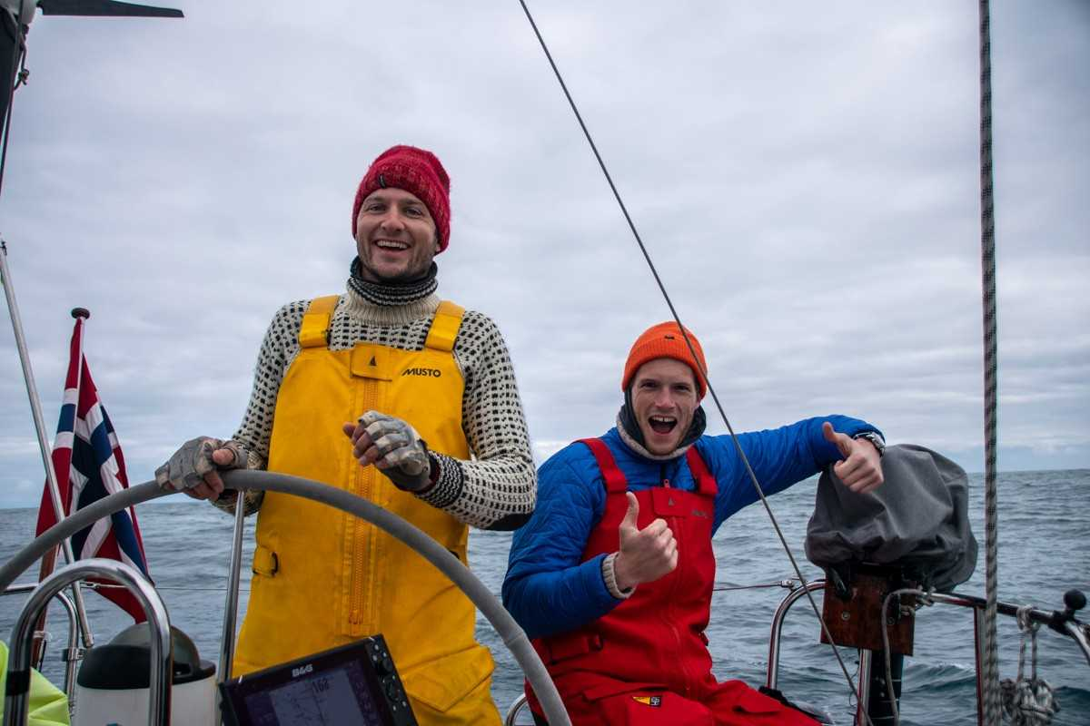 Andreas and Hugh rather excited following the first blue whale observation!
